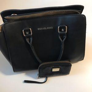 Michael kors black wallet and purse